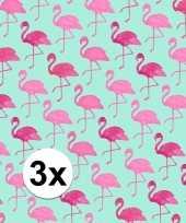 3x inpakpapier met flamingo motief 200 x 70 cm op rol type 2 trend