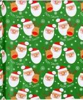 3x kerst inpakpapier groen met kerstman print 200 x 70 cm trend