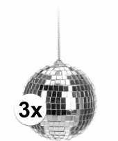 3x kerstboom decoratie discoballen zilver 6 cm trend