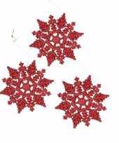 3x kerstboom decoratie rode glitter sneeuwvlok 10 cm type 2 trend