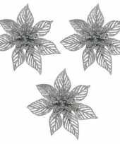 3x kerstboomversiering op clip champagne glitter bloem 23 cm trend