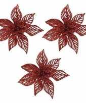 3x kerstboomversiering op clip rode glitter bloem 23 x 5 cm trend
