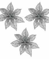3x kerstboomversiering op clip zilveren glitter bloem 23 cm trend