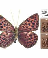 3x kerstboomversiering vlinders op clip rood bruin goud 10 cm trend