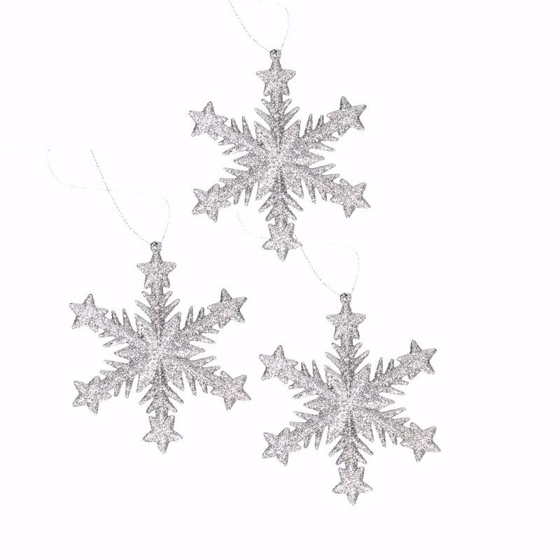 3x kersthangers sneeuwvlok zilver glitter type 1 trend