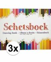 3x kinder teken schets boeken a4 trend