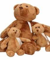 3x knuffelberen mama en kinderen boris 32 en 17 cm trend