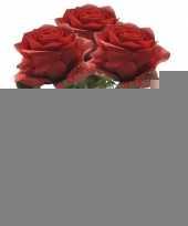 3x kunstbloem roos rood trend