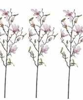 3x licht roze magnolia beverboom kunsttak kunstplant 80 cm trend
