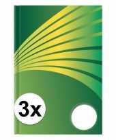 3x luxe schrift a4 formaat groene harde kaft trend