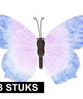 3x metalen vlinders blauw lila 40 cm tuin decoratie trend