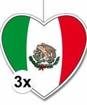 3x mexico hangdecoratie harten 28 cm trend