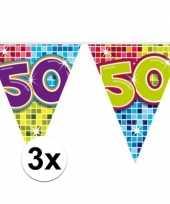 3x mini vlaggenlijn slinger verjaardag versiering 50 jaar trend
