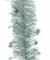 3x mintgroene sterren kerstslingers 10 x 270 cm kerstboom trend