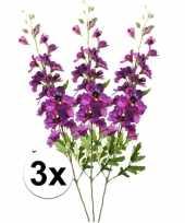 3x paarse ridderspoor kunstbloemen tak 70 cm trend