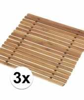 3x pannen onderzetter bamboe 18 cm trend
