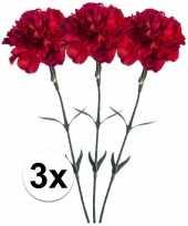3x rode anjer kunstbloemen tak 65 cm trend