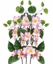 3x roze clematis kunstbloemen takken 80 cm trend