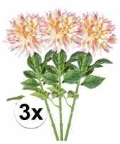 3x roze dahlia kunstbloemen takken 70 cm trend