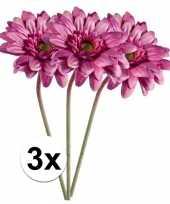 3x roze gerbera kunstbloemen 47 cm trend