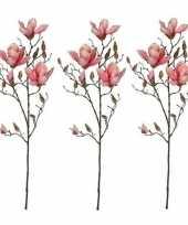 3x roze magnolia beverboom kunsttak kunstplant 90 cm trend