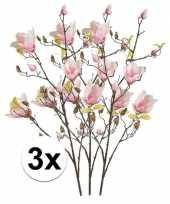 3x roze magnolia kunstbloemen tak 105 cm trend