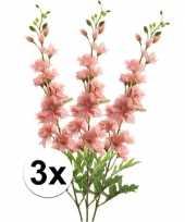 3x roze ridderspoor kunstbloemen tak 70 cm trend