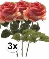 3x roze roos kunstbloem simone 45 cm trend