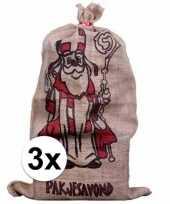 3x sinterklaas zakken van jute 60 x 102 cm trend