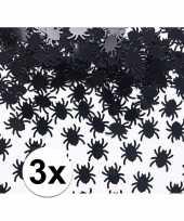 3x spinnetjes confetti zwart 45 gram trend