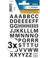 3x stickervellen letters zwart 10 mm 65x trend