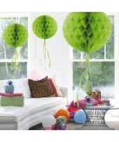 3x stuks decoratie bol lime groen 30 cm trend