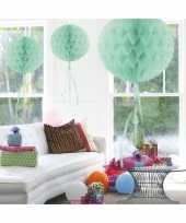3x stuks decoratie bollen mint groen 30 cm trend