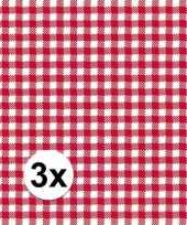 3x verpakking oktoberfest feestservetten geruit rood wit 3 laags 20 stuks trend