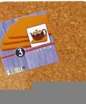 3x vierkante onderzetters van kurk 19 cm trend