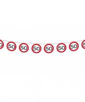 3x vlaggenlijn versiering 50 jaar verkeersborden 12 meter trend