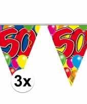 3x vlaggetjes lijn plastic 50 jaar 10 meter trend