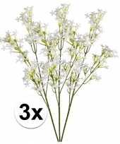 3x wit groene kroonkruid kunstbloemen tak 68 cm trend
