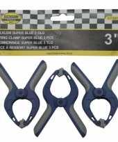 3x zeilklemmen zeilclips van kunststof 3 inch trend