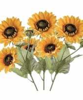 3x zonnebloemen kunstbloemen takken 62 cm 3 bloemen geel trend