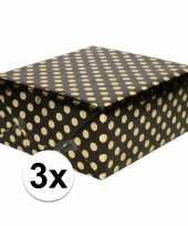 3x zwart folie inpakpapier cadeaupapier gouden stip 200 x 70 cm trend