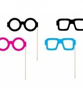 4 brillen photo props op stokje trend