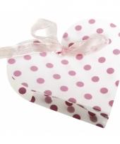 4 geschenkdoosjes wit hart met roze stippen trend