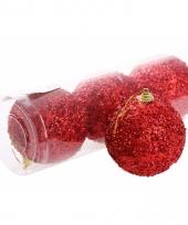 4 rode kerstballen 7 cm trend