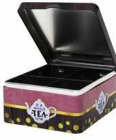 4 vaks theedoos theekist 15 cm met print tea time trend