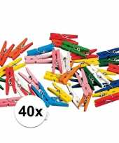 40 gekleurde houten knijpertjes trend