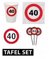 40 jaar tafel versiering pakket verkeersbord trend