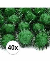 40x donkergroene knutsel pompons 20 mm trend
