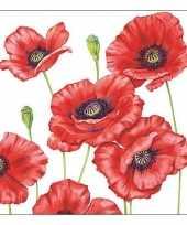 40x klaprozen poppy bloemen voorjaar servetten 33 x 33 cm trend