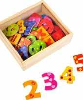 40x magnetische houten cijfers nummers gekleurd trend
